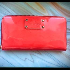 Kate spade red patent leather wallet